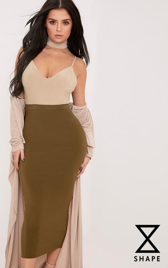 PrettyLittleThing Shape Francina White Slinky Plunge Bodysuit