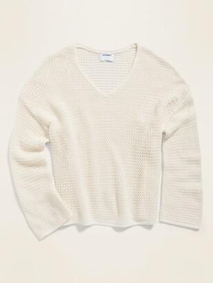 Old Navy Slouchy Crochet V-Neck Sweater for Women