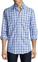 Neiman Marcus Trim-Fit Regular-Finish Plaid Sport Shirt, Blue