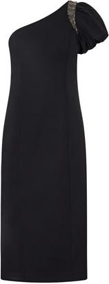 Aidan Mattox One Shoulder Midi Dress