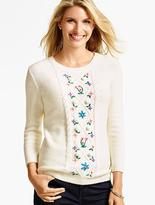 Talbots Cabled Flower-Embroidered Sweater