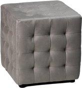 Cortesi Home Moda Tufted Cube Microfiber Fabric Ottoman, Stone