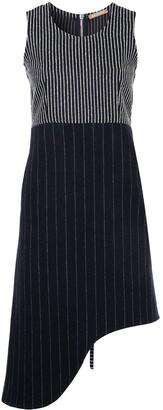 Nehera Pinstripe Asymmetric Sleeveless Dress