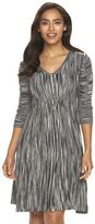 Connected Apparel Women's Ribbed V-Neck Sweaterdress