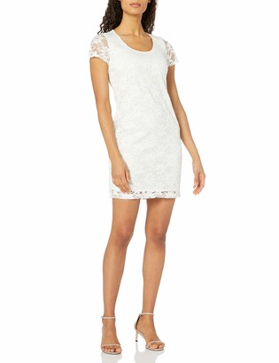 Tiana B T I A N A B. Women's Daisy Lace Shift Dress with Short Sleeves