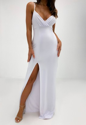 Missguided White Slinky Wrap Split Front Maxi Dress