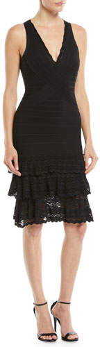 Herve Leger V-Neck Sleeveless Bandage Knit Body-Con Cocktail Dress w/ Lace
