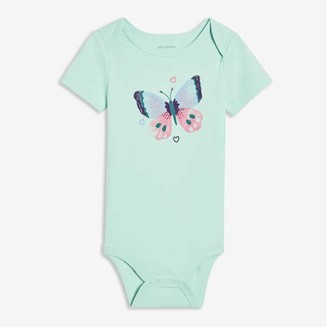 Joe Fresh Baby Girls' Graphic Bodysuit, Aqua (Size 6-12)