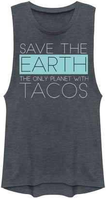 Juniors' Save The Earth - The Only Planet With Tacos Muscle Tee