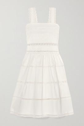Waimari Maya Shirred Crocheted Lace-trimmed Cotton-blend Dress - White