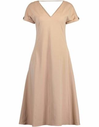 Brunello Cucinelli Rolled Sleeve Cotton Stretch Midi Dress