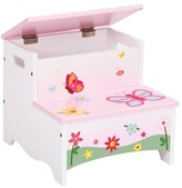 The Well Appointed House Guidecraft Butterfly Theme Step Stool with Storage for Kids