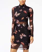 Material Girl Juniors' Printed Mesh Bodycon Dress, Created for Macy's