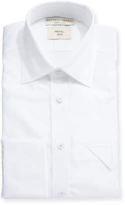 Bottega Veneta Men's Poplin Egyptian Cotton Dress Shirt w/ Pocket Fold