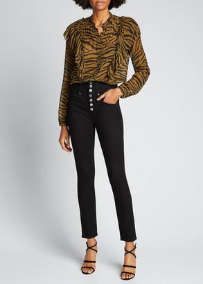 Veronica Beard Camilla Tiger Stripe Button-Down Ruffle Top