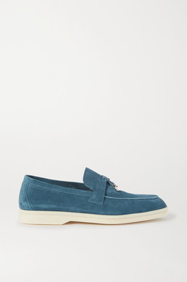 Loro Piana Summer Charms Walk Embellished Suede Loafers - Blue