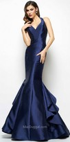 Mac Duggal Keyhole Back Ruffled Taffeta Trumpet Evening Gown