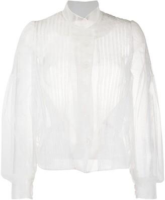Simone Rocha Pleated Blouson-Sleeved Tulle Blouse