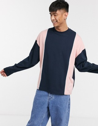 ASOS DESIGN oversized longline long sleeve t-shirt in heavyweight jersey with vertical colour block in navy