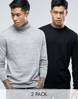 Asos 2 Pack Crew and Roll Neck Sweater In Black/Gray SAVE