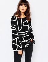 Weekday Raw Geometric Print Edge Top With Slit Back Detail