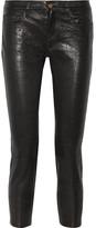 Frame Le Garcon Textured-leather Slim Boyfriend Pants - Black