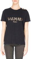 Balmain Button-Detail Logo T-Shirt