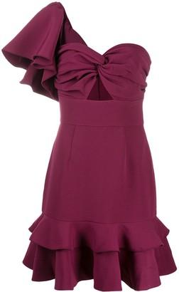 Keepsake Asymmetric Fluted Hem Dress