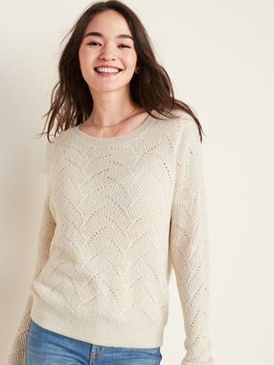Old Navy Crew-Neck Pointelle Sweater for Women