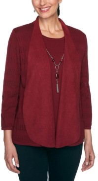 Alfred Dunner Petite Layered-Look Necklace Top