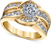 Macy's Diamond Engagement Twist Ring (1-1/4 ct. t.w.) in 14k Gold and White Gold