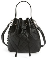 Moschino Mocscino 'Mini Letters' Quilted Bucket Bag - Black
