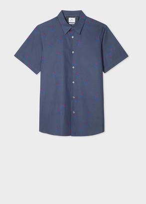 Men's Tailored-Fit Blue 'Nettles' Print Short-Sleeve Shirt
