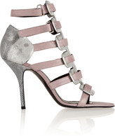 Pierre Hardy Metallic elaphe and suede sandals