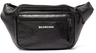 Balenciaga Explorer Textured-leather Belt Bag - Mens - Black