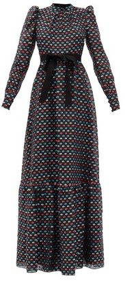 Erdem Claudina Puffed-sleeve Fil-coupe Gown - Multi