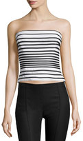 Halston Charm Strapless Striped Top, Bone/Black