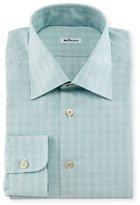 Kiton Micro-Check Windowpane Woven Dress Shirt, Sage