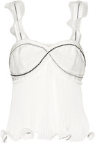3.1 Phillip Lim Ruffle-trimmed Plissé-silk Crepe De Chine Top - White