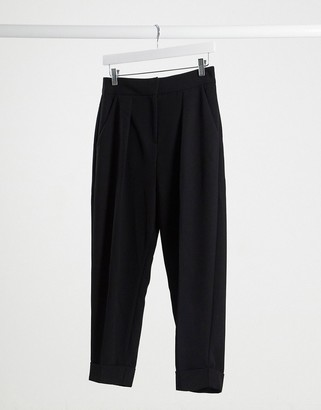 Closet London Closet smart tailored pant with turn up in black