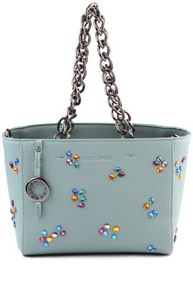 Suzy Levian Pebbled Faux Leather Rhinestone Satchel Handbag
