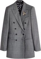 Dolce & Gabbana Virgin Wool Blazer with Embellished Brooch