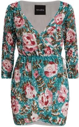retrofete Floral Sequin Mini Wrap Dress