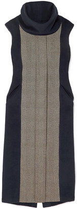 Giuliva Heritage Collection Athena Prince Of Wales Checked Wool And Cashmere-blend And Fleece Dress