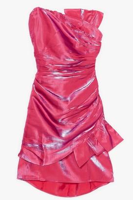 Nasty Gal Womens Taffeta Bow Front Strapless Mini Dress - Pink - 4, Pink