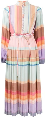 Zimmermann Colour Block Pleated Silk Dress