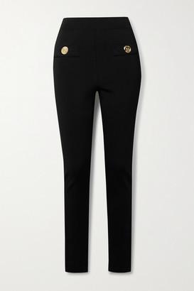 Balmain Button-embellished Stretch-ponte Leggings - Black