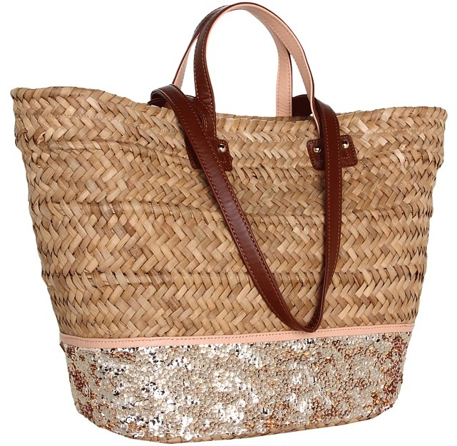 Juicy Couture Straw Sequin Beach Tote (Creamsicle/Natural) - Bags and Luggage