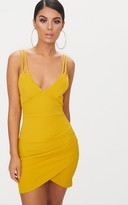 PrettyLittleThing Mustard Double Strap Bodycon Dress