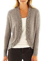 Liz Claiborne Cable-Trim Cardigan Sweater